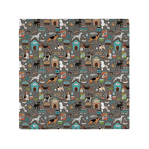 AmaUncle 20' x 20' Washable Polyester Napkins Paw Print Background with Pet Canine Accessories Balls Carry Bags Great for Wedding Party Restaurant Dinner Parties Set of 4 NO-74337