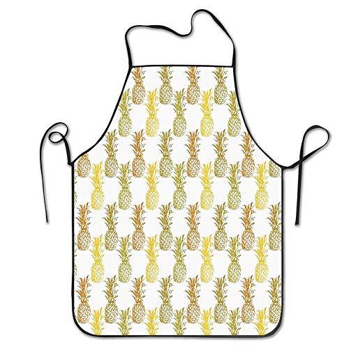 N\A Ananas Hand gezeichnet einfach skizziert Stempel Minimaler Hintergrund Ananas Senf Zimt Olivgrün Langlebig Pflegeleichte Schürzen Chefkoch Küche Kochen und Backen Lätzchen Schürze