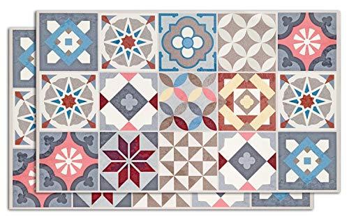 Desconocido Alfombra Vinílica con Estampado Hidraúlico | Pack 2 MANTELES Individuales 30x50 cm Eileen Multicolor