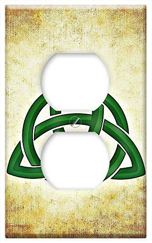 Switch Plate Outlet Cover - Ireland Celtic Symbol Green Symbol Background