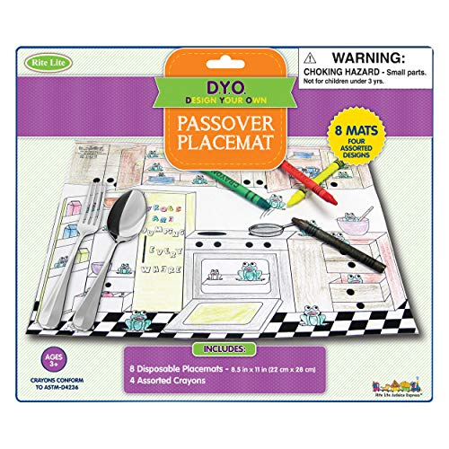 Rite Lite Passover Coloring Placemat Kit - Kids Coloring Kit for Passover