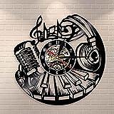 Nzlazbc Music Instrument Piano Wall Decor Musical Wall Clock Rock and Roll Wall Art Vinyl Record Clock Microphone Headset Vinyl Clock