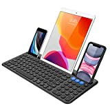 Arteck Universal Bluetooth Keyboard Multi-Device Built-in Cellphone Cradle Wireless Keyboard for Windows, iOS, Android, Computer Desktop Laptop Surface Tablet Smartphone Built-in Rechargeable Battery