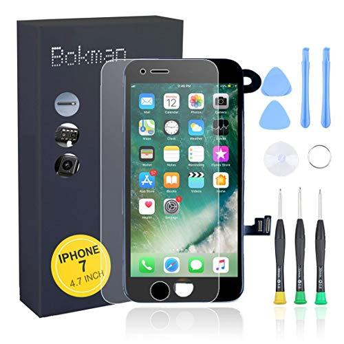 bokman voor iPhone 7 Zwart Scherm LCD Touchscreen Volledige Montage met Camera aan de Voorkant, Luistergedeelte Spreker en Afschermplaat