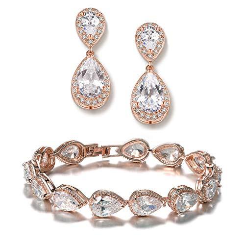 UDORA Teardrop Dangle Earrings Bracelet Bridesmaid Jewelry Set Bridal Wedding Party Prom Gifts (Rose Gold)