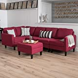Carolina Sectional Sofa Set with Ottoman, 6-Piece Living Room Furniture with Storage