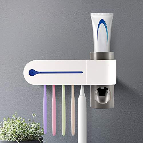 CAMPSLE Portacepillo de Dientes Eléctrico Esterilizador UV Soporte con 5 Ports Dispensador de Pasta de Dientes Soporte de Pared Accesorios de Baño