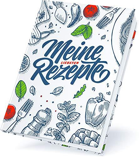 Großes A4 Rezeptbuch zum Selberschreiben für 100 Lieblingsrezepte, Premium Hardcover, hochwertige Fadenbindung, blanko DIY Backbuch, Kochbuch selbst schreiben (Weiß)