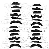 com-four 24-teiliges Schnurrbart Set verschiedene Moustache-Bärte, falscher Bart für Mottopartys,...