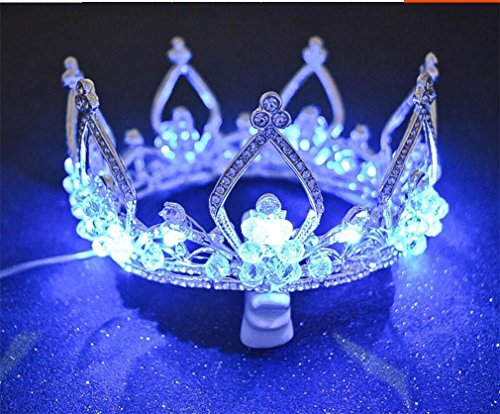 Elegance-Z Europese en Amerikaanse bruidkroon, lichtgevende legering, strass, romantische kroon, bruiloft, accessoires, verjaardagsfeest, parade