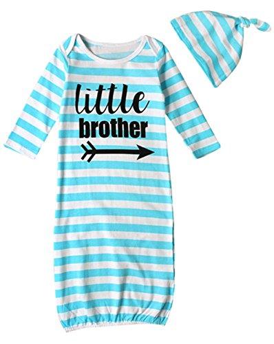 BANGELY Newborn Baby Boys Girls Letters Print Sleep Gowns Striped Sleepsack Blanket Size 6-12Months (Blue)
