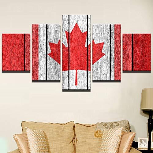 Print schilderij voor woonkamer huisdecoratie 5 paneel Canada vlag poster frame van hoge kwaliteit canvas
