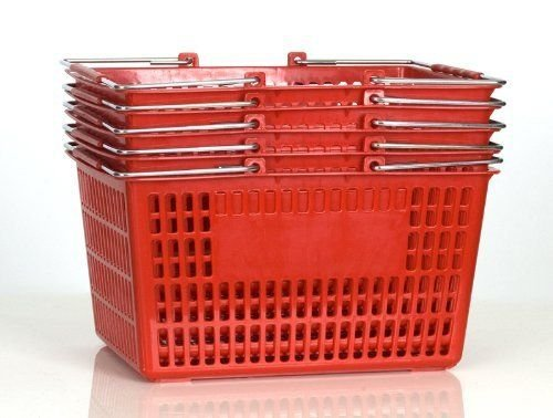 Shopping Basket (Set of 5) Durable Red Plastic with Metal Handles