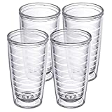 Clear 4-pack 16 oz Insulated Tumblers, Made in the USA,...