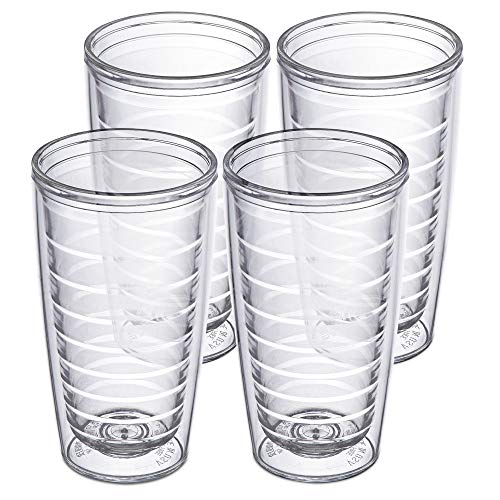 4-pack Insulated Tumblers 16 Ounce - Drinking Glasses Made in USA - Clear (16oz Insulated Cups)
