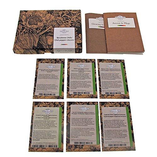 Peperoncini famosi - set regalo di semi con 6 varietà classiche piccanti
