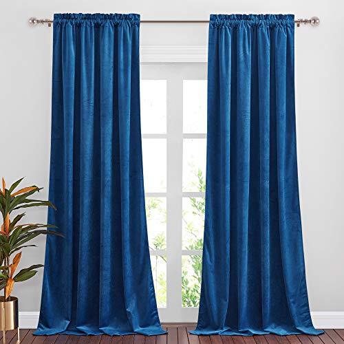 NICETOWN Blue Velvet Curtain Panels, Luxury Rod Pocket Window Treatment Velvet Curtains for Living Room/Bedroom/Home Theatre (1 Pair, 84 inches Long)