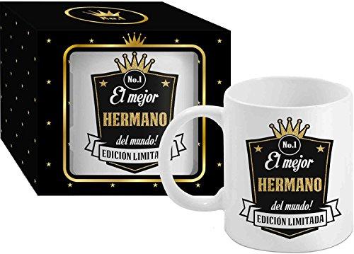 Taza Cerámica para Desayuno en Color Blanco de 300 ml, Un Regalo Original para Familia y Amigos - El mejor HERMANO del mundo!