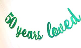All About Details™ 50 Years Loved Cursive Banner, 1set, 50th Birthday Banner, 50th Birthday Decoration (Green)