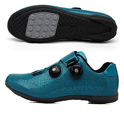 Tingxx Bicicleta De Carretera Ciclismo Calzado Deportivo Suela Dura Ciclismo De Montaña Deportes Cierre De Cordones Sin Candado Blue_Lockless_Shoes_41
