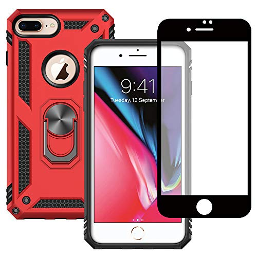 Yiakeng Funda Apple iPhone 7 Plus / 8 Plus New Edition Carcasa con Protector Pantalla Cristal Templado, Silicona Armor Case con Kickstand para Apple iPhone 7 Plus / 8 Plus (Rojo)