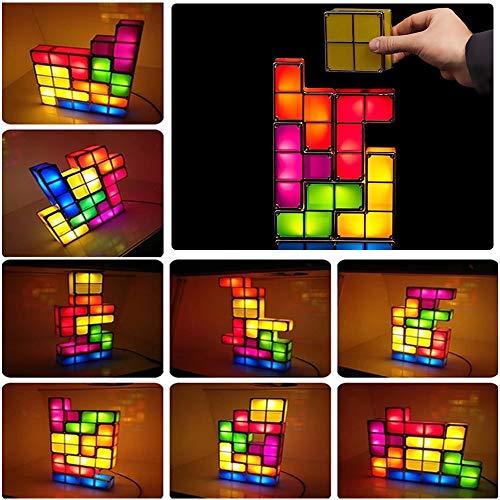 JuneJour Tetris Lampe Stapelbare LED Tischleuchte Stimmungslicht Retro Tetrislampe Leuchte Bausteine