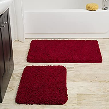 Bedford Home 2 Piece Memory Foam Shag Bath Mat Set - Burgundy