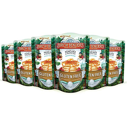Birch Benders GlutenFree Pancake and Waffle Mix, Made with Brown Rice Flour, Potato, Cassava, Almond, and Cane Sugar, Family Pack, Just Add Water, 14 oz (Pack of 6)
