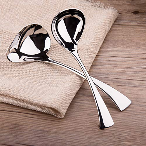 IMEEA 7' Sauce Drizzle Spoon 7.5' Gravy Soup Spoon 18/10 Stainless Steel, Set of 2