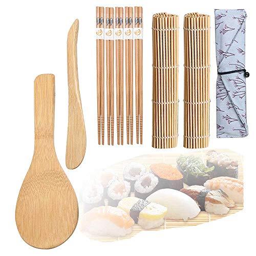 Sushi Kit, Kit para Hacer Sushi, Juego de Sushi, Kit para Hacer Sushi de Bambú, 5 Pares de Palillos con Bolsita, 2 Esterillas,Paleta de Arroz,Esparcidor de Arroz,Kit para Hacer Sushi de Bambú 10 Pcs