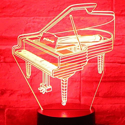 Eld Piano de luz Nocturna LED 3D con luz de 7 Colores para la lámpara de decoración del hogar Visualización increíble Ilusión óptica Regalo del día de los niños Impresionante