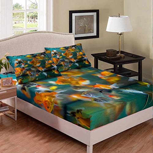 Fish Bed Sheet Kids Boys Girls Twin Ornamental Fish Bedding Set Modern Tank Goldfish Chic Bed Cover Decorative Bed Sheet Set Deep Pocket Bed Covers Bedclothes 2pcs Fitted Sheet with Pillow Case