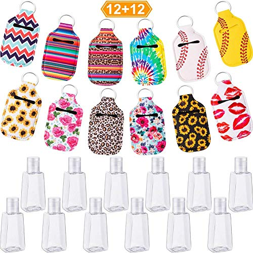 Refillable Bottles – 12-Piece Empty Travel Bottle with 12-Piece Keyring Holder Reusable Container with 30 ml Hinged Lid for Soap Liquids