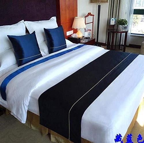BAMCQ Chemin de Lit Luxe Nouveau Moderne Simple Accueil Hôtel Drapeau Drapeau Queue De Lit B & B Couverture De Lit Profond Bleu Tibétain Bleu_1.8m Lit 50x240