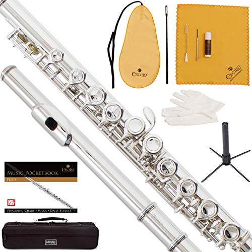 Mendini by Cecilio Closed Hole Student Nickel Plated C Flute with Case, Stand, Pocketbook, Cleaning Rod, Cleaning Cloth, Joint Grease, Mouthpiece Brush, Gloves, Screwdriver and 1 Year Warranty