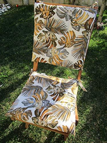 Pago Poco Novita !!! Frühlings-Sommer-Kollektion 2020 !!! Sitzkissen, Motiv: Palme 40 x 40 cm. mit 2 Schnürsenkeln 100 % Baumwolle, hergestellt in Italien. !