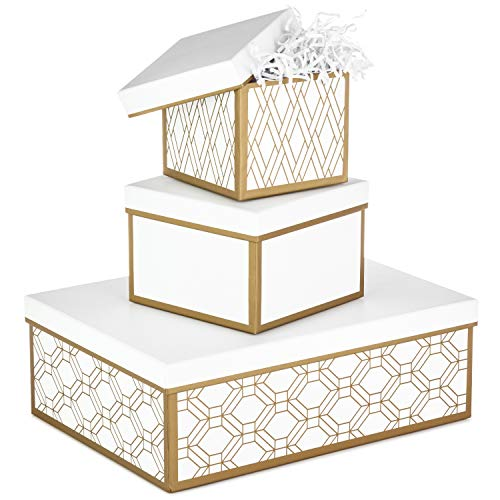 Hallmark Nested Gift Boxes with Lids and Fill (Set of 3, White and Gold, Assorted Sizes) for Weddings, Bridal Showers, Bridesmaids, Christmas, Hanukkah, Birthdays, Valentine's Day