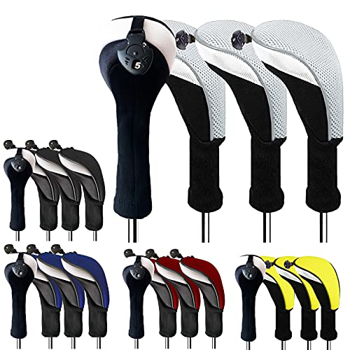 FINGER TEN Golf Club Head Covers Woods Hybrids Value 2/3/4 Pack, Headcovers Men Women 3 5 7 X with Interchangeable Number Tag, Fit All Wood Hybrid Clubs (Blue--2 Pack Hybrid Cover)