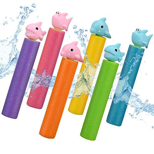 balnore Pistolet na wodę, 6 sztuk, pistolet natryskowy z pianki, pistolet natryskowy, zestaw zabawek do basenu, zabawka ogrodowa, zabawka wodna, zabawka dla dzieci i dorosłych