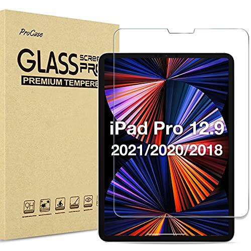 """Procase Protector de Pantalla para iPad Pro 12,9"""" 2021 2020 2018, Película Protectora de Cristal Templado para iPad 12.9 Pulgadas 4ª Generación 2020 y 3ª Generación 2018 Vidrio Real - Transparente"""