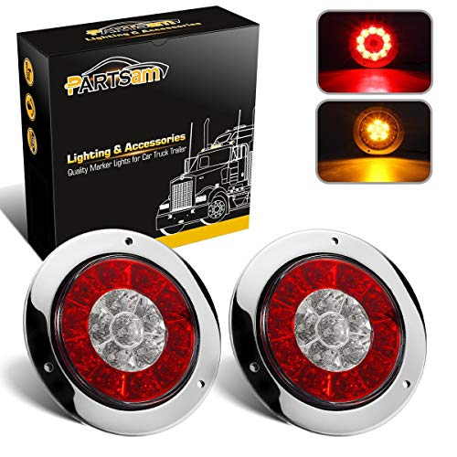 Partsam 4 Inch Round Truck Trailer Led Tail Stop Brake Lights Taillights Running Red and Amber Parking Turn Signal Lights, Sealed Dual Color Round Led Lights w/Miro-reflectors Flange Mount (2Pack)