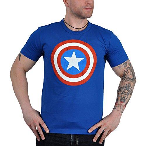 Captain america shield logoshirt tee t-shirt vintage pour homme coupe slim XXL Bleu - Bleu roi