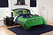 Officially licensed NFL King comforter and shams set Features NFL team's logo and name in center; stripes extending off the sides; background is bold color matching NFL team; shams in matching color Soft and cozy; set Comes with comforter and two sha...