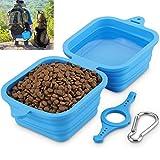 Comedero plegable para perros y gatos, tazn de viaje porttil 2 en 1 para agua y comida, 1240 ml (azul)