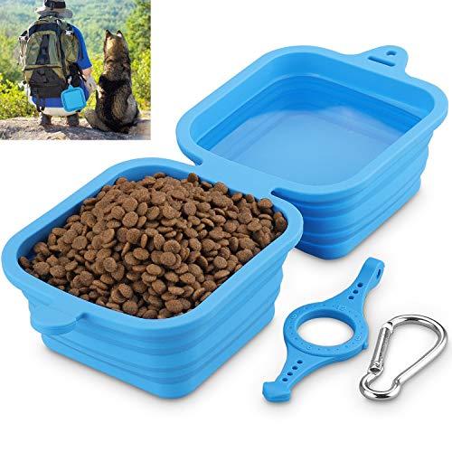 Hundenapf faltbar, Fressnapf für Hund und Katzen Reisenäpfe Tragbar 2 in 1 Wassernapf und Futternapf 1240ml/40oz(Blau)