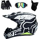 LSLVKEN Casco De Motocross Hombre Mujer Montaña Bicicleta Casco 4 Piezas Casco + Guantes + Gafas + Máscara,03,L