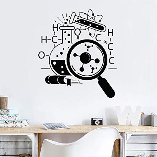 yaonuli Laboratorium Vergrootglas Atoom Vinyl Muursticker Wetenschap Scheikunde School Wetenschapper Muursticker Verwijderbare Kamer Decoratieve muurschildering