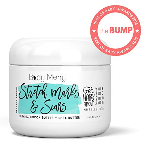Body Merry Stretch Marks Cream - Daily Moisturizer with Organic Cocoa...
