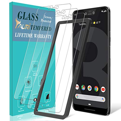 TAURI [3 Stück Schutzfolie für Google Pixel 3 XL, Pixel 3 XL Panzerglasfolie [Alignment Frame] [Einfache Installation] [9H Härte] [Anti-Kratzen/Öl/Bläschen] HD Klar Glas Bildschirmschutzfolie