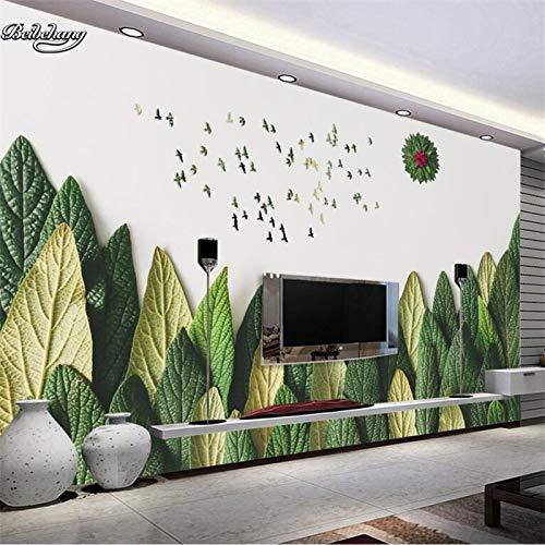 WOONN Atmosphärische kreative grüne Blattblätter Waldsonne fliegende Vögel 3D-Hintergrund kundenspezifische Wandvlies-Tapete